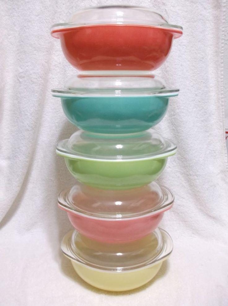 10 Pcs Pyrex 2 Qt 024 Casserole Bowls & Lids Pastels Pinks Aqua Yellow Green #Pyrex #Pyrex