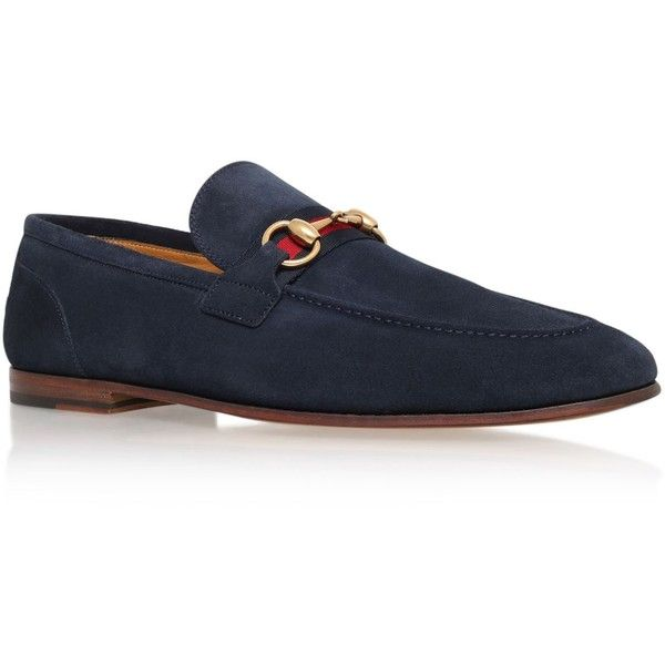 Gucci Horsebit Suede Loafer (£455) ❤ liked on Polyvore featuring men's fashion, men's shoes, men's loafers, mens loafer shoes, mens slip on shoes, suede tassel loafers mens shoes, mens suede shoes and gucci mens shoes