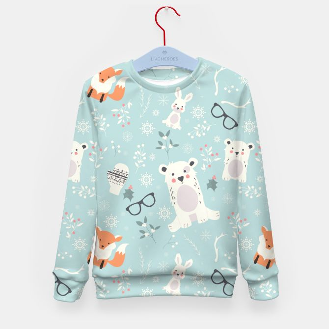 Christmas animals pattern 002 Kid's Sweater, Live Heroes