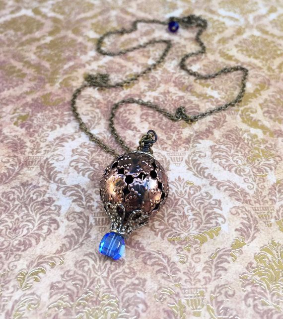 Steampunk jewelry hot air balloon necklace copper pendant blue crystal mixed metal victorian jewelry steampunk gift for wife birthday gift