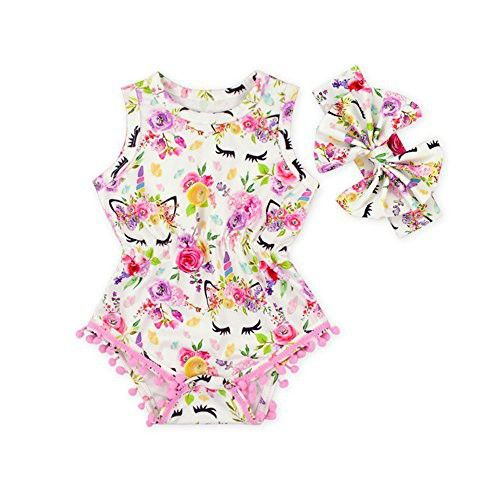 Anbaby Baby Girls Sleeveless Pom Pom Romper Various Patterns Floral Bodysuit Clothes with Headband