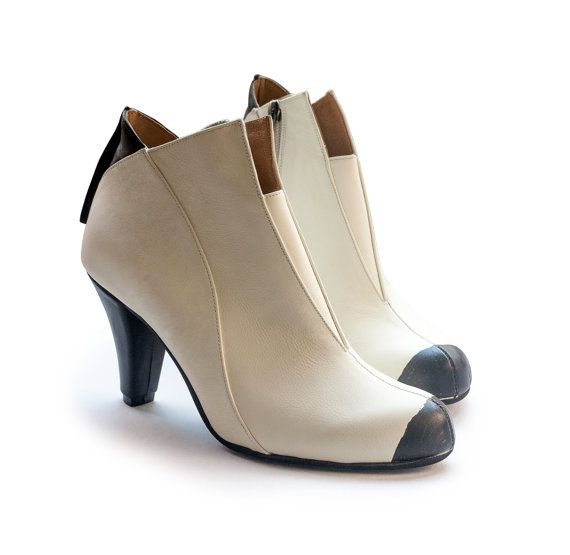 New! Cream booties, Celene model. Women boots, handmade leather boots, women shoes. Free shipping.