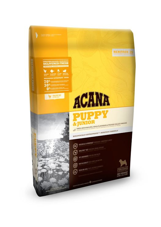 Acana Puppy Junior Every puppy is a carnivore and need a diet appropriate to their natural évolution, wich means rich and varied, with méat and a smaller amount of fruits, vegetables and grasses.
