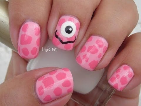 Halloween Nail Art Pink Monster Decoraci N De U As Para