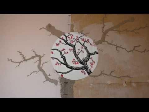 Лепнина Дерево на стене Часть 1 - YouTube
