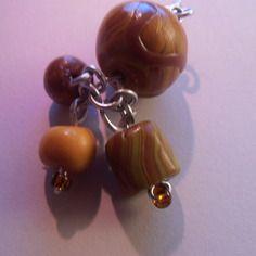 Boucles d'oreille artisanales boules et cylindre