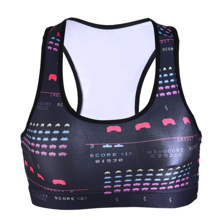 Black Milk 0067 Summer Sexy Girl Women classical FC game PAC-MAN 3D Prints Padded Push Up Gym Vest Top Chest Running Sport Bras
