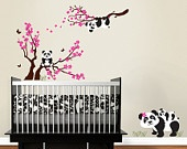 Panda Family with Blossom Branches, panda decal, baby panda, blowing blossoms Nursery Wall Vinyl