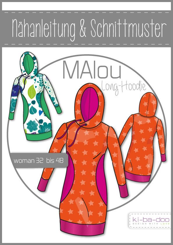MAlou Damen-Long-Hoodie -  DIN A 0 Schnittmuster und Anleitung als Broschüre