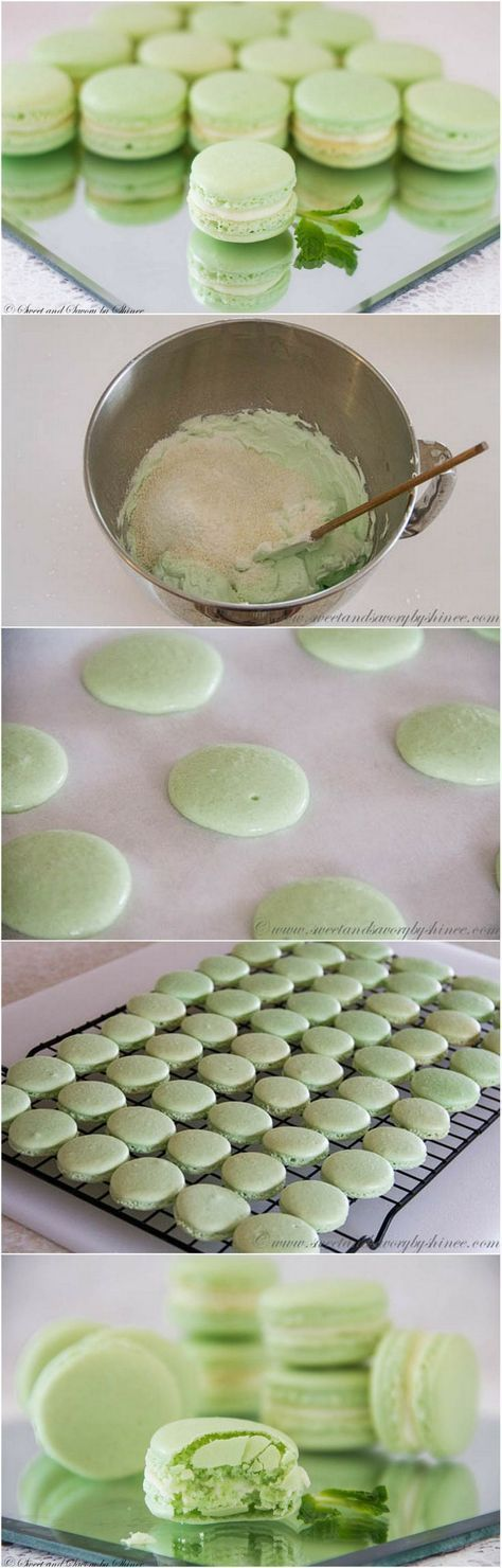 Mint French Macarons with Minty White Chocolate Ganache Filling