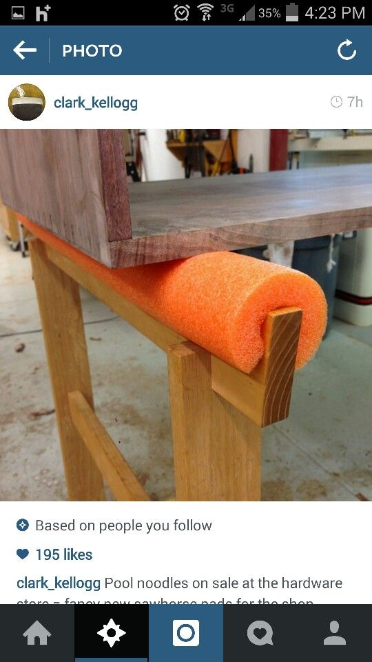 pool noodle to cushion saw horses
