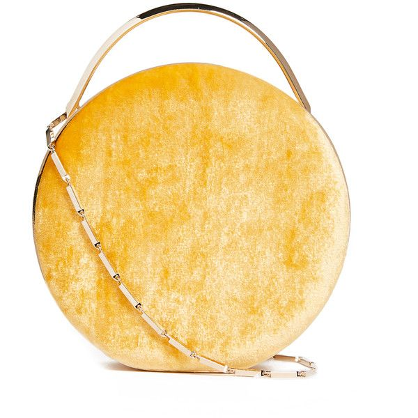 Eddie Borgo Chet Minaudiere Circle Cross Body Bag ($1,500) ❤ liked on Polyvore featuring bags, handbags, shoulder bags, chain strap purse, yellow handbags, circle crossbody, yellow shoulder bag and yellow crossbody handbags