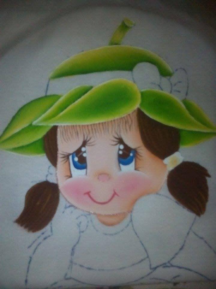 Pintura en tela niña fresa # 2 con cony