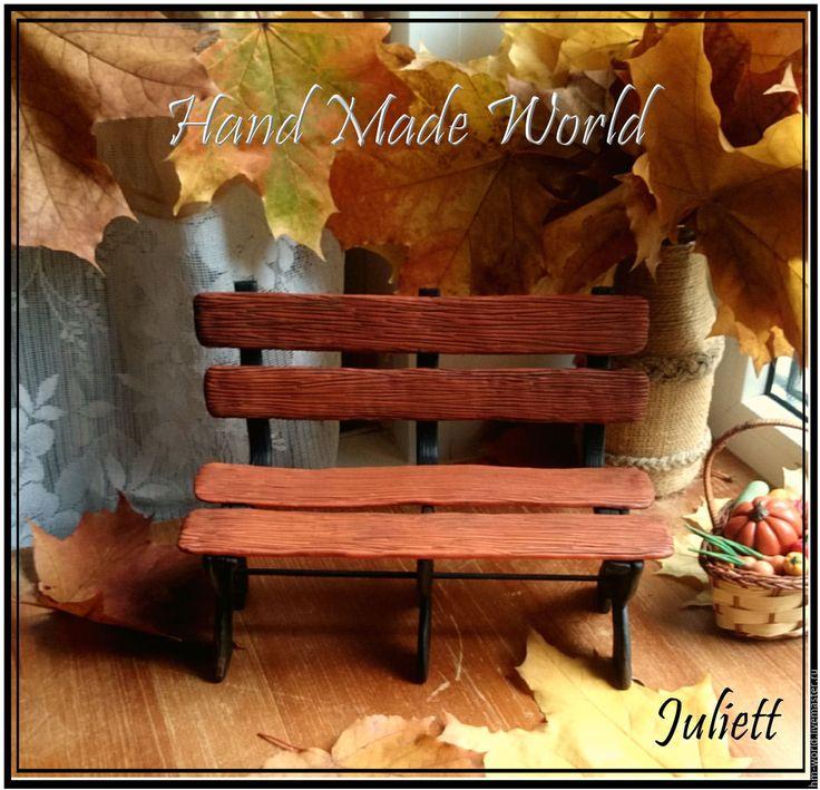 Купить Скамеечка для куклы из полимерной глины - оранжевый, скамейка, скамья, скамеечка, скамейка для кукол