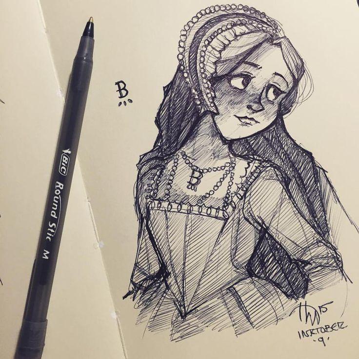 """Haley Mortensen on Twitter: """"Day 9 of #inktober! Queen Anne Boleyn of England"""