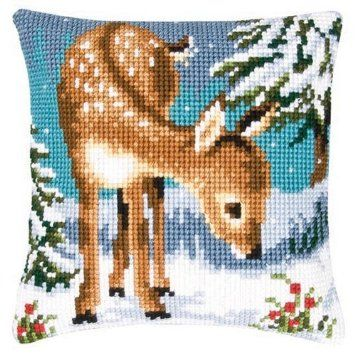 Vervaco Young Deer Pillow Cover Needlepoint Kit