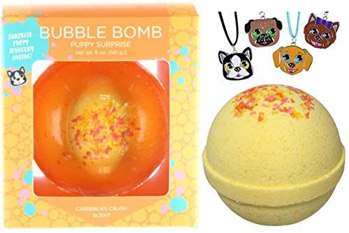 Puppy Bubble Bath Bomb With Surprise Girls Dog Necklace Inside By