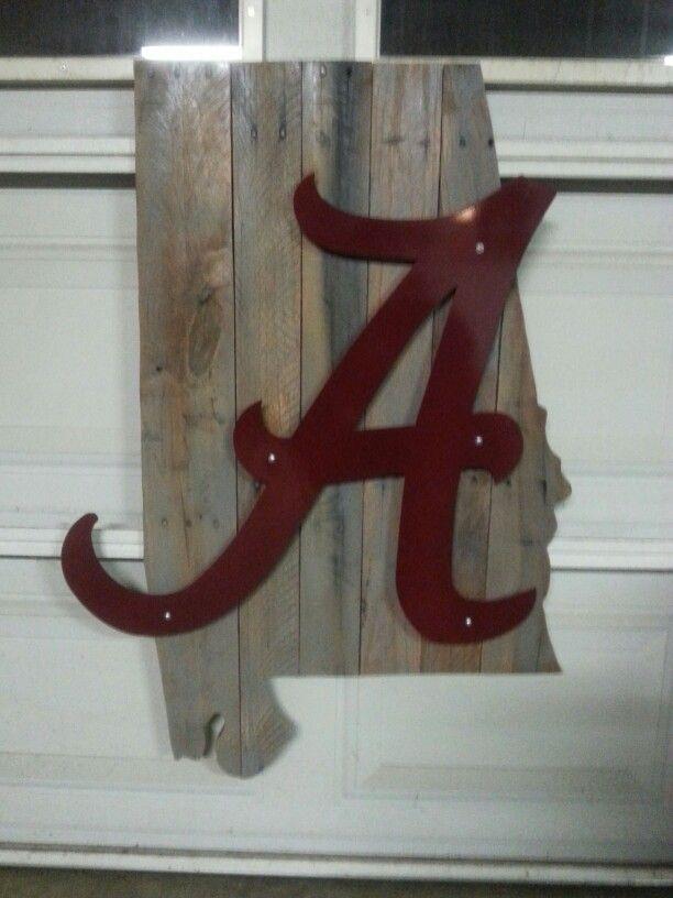 Alabama Sign Wood State Cutout Metal Logo My Artwork