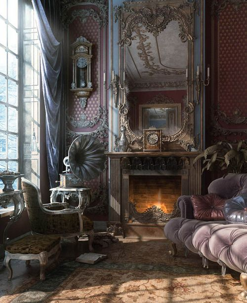 Victorian interior... Hey B, I know this is too much color for you... but maybe not too much embellishment?? You with your pink crystal chandelier!