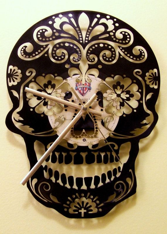 The Day Of  Dead ,  Sugar Skull upcycled Vinyl Wall handmade record Clock