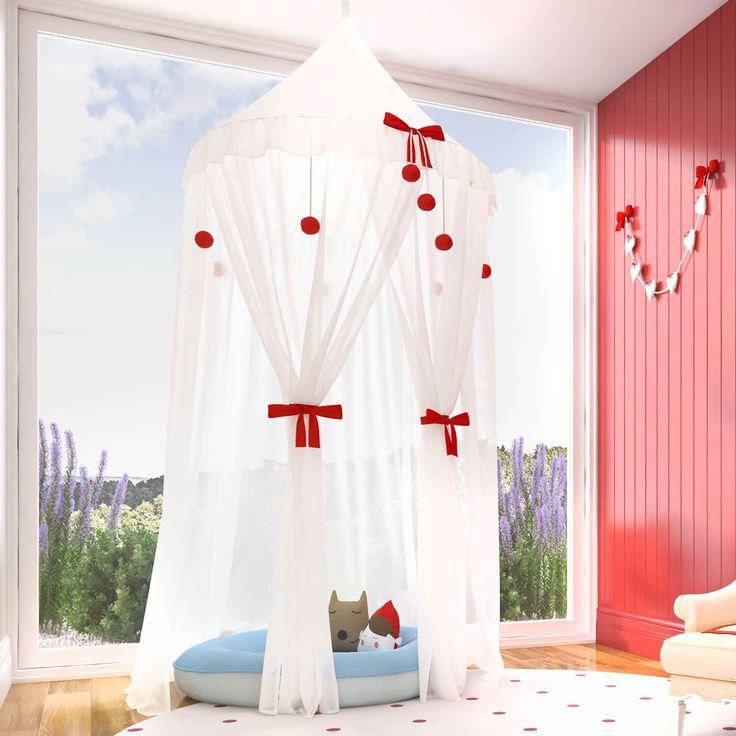 A Tenda Dossel Chapeuzinho Vermelho é um luxo! Com detalhes de lacinhos vermelhos, esse acessório incrível completa a decoração do quarto de bebê de um jeito único!