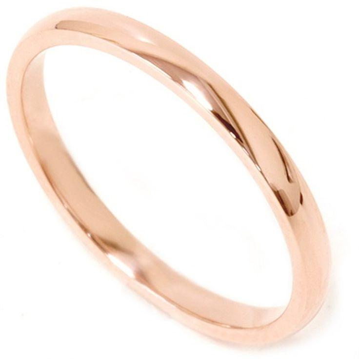 Amazon.com: 2MM 14K Rose Gold Comfort Fit Plain Wedding Band: Jewelry