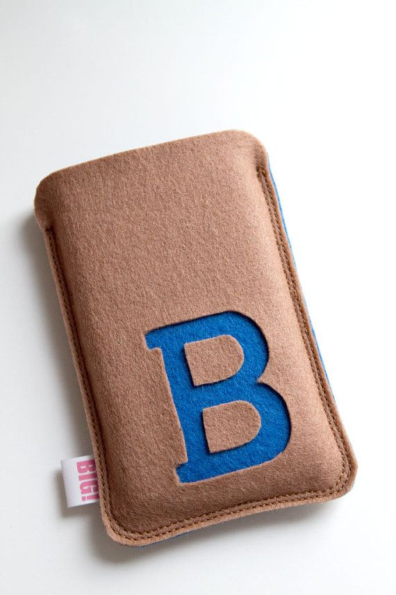 Felt phone cover with your initial brown/tan and by StudioBIG, €17,50