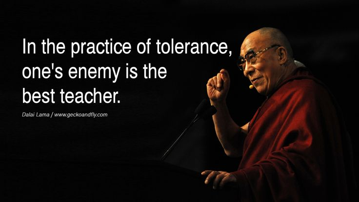 Quotes In the practice of tolerance, one's enemy is the best teacher. - Dalai Lama