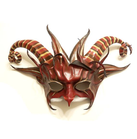 Fantastical Horned Creature Leather Mask red black by teonova, $265.00 horns horned leather mask goat pan pagan devil striped stripes red black fae faerie fairy creature