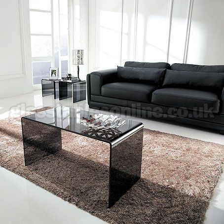 Long Smoked Glass Coffee Table
