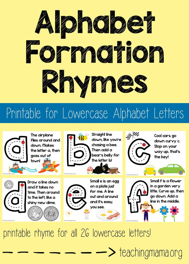 Lowercase Alphabet Formation Rhymes - fun little rhymes to help children learn how to write lowercase letters!