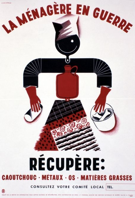 This French poster called Canadian women to help the war effort. At the home front, women were given much larger roles in the workforce. Propaganda posters encouraged people to avoid unnecessary spending, to conserve food, fuel and other essentials, and to save and recycle things like bones, metal and paper. Library and Archives Canada / C-087533La ménagère en guerre/http://recherche-search.gc.ca/rGs/s_r?st=s&s5bm3ts21rch=x&num=10&st1rt=0&langs=eng&cdn=canada&q=WWII+home+front+in+Photographs