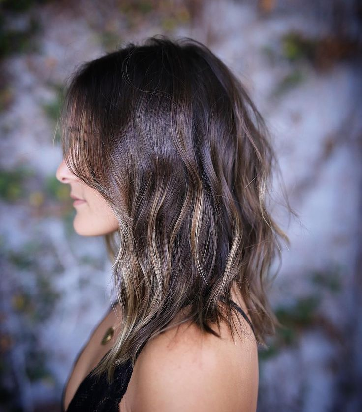 Dark Ash Brown Wavy Hair With Layers And Super Subtle