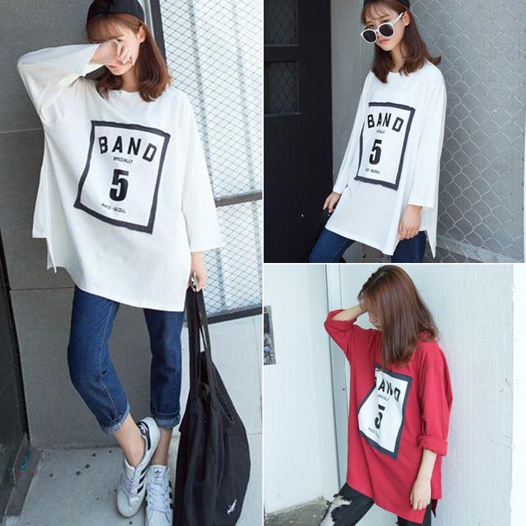 韓国 原宿系 長袖 Tシャツ ロゴBAND5 レディースファッション トップス