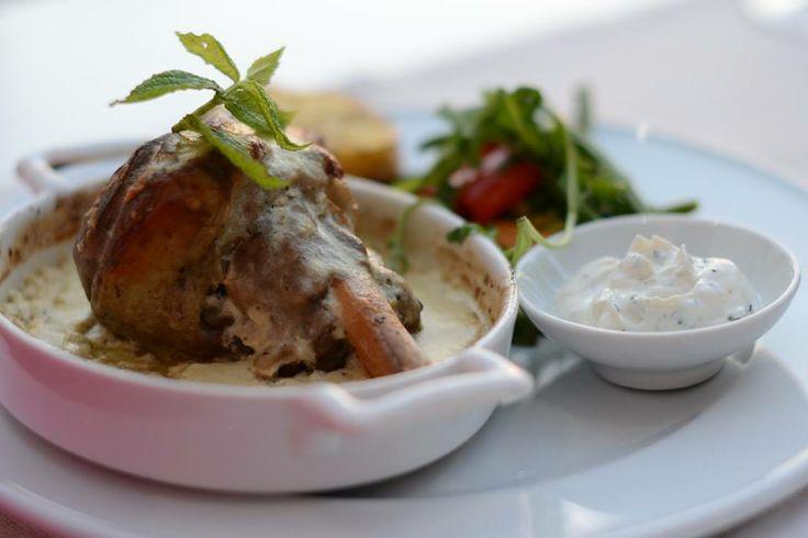 baked lamb shank with yogurt, theodosi restaurant, chania, crete
