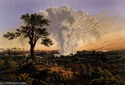 Les chutes de Sunrise avec le nuage de pulvérisation hausse de Thomas Baines (1820-1875, United Kingdom)