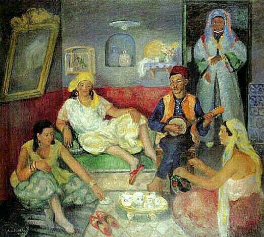 Peinture d'Algérie : Peintre Français, René Joseph Marie Levrel (1900 -1981), Huile sur toile,Titre: Le concert au salon
