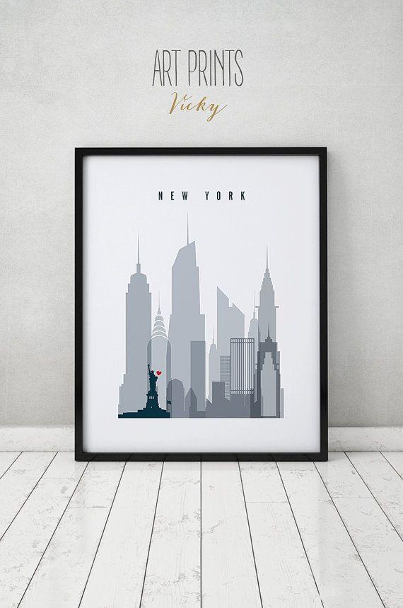New York Print Poster Wall Art Distress New York Door ArtPrintsVicky