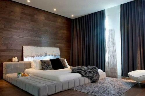 темные шторы в спальне