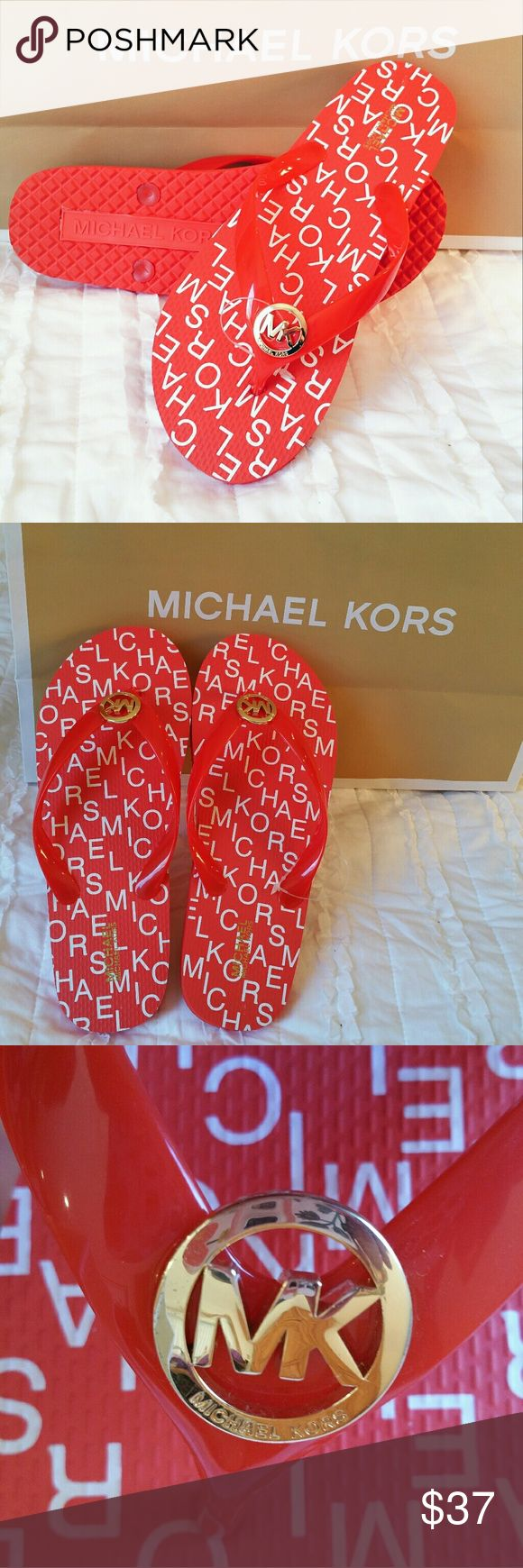 {Michael Kors} signature logo red flip flops New WITHOUT tags! Has plastic holder still attached Michael kors Red with MK logo Gold tone hardware Style # RX16J Available sizes: 9 MICHAEL Michael Kors Shoes Sandals