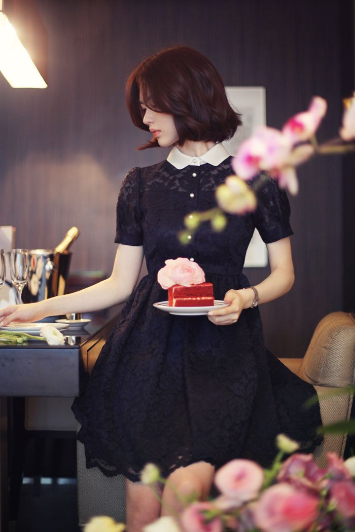 Korean fashion | black dress www.milkcocoa.co.kr