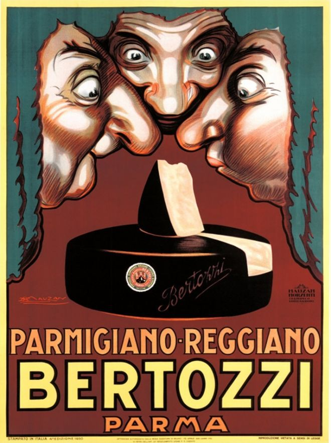 Check out this vintage Parmigiano Reggiano® cheese poster by Archille Mauzan! Mauzan was a famous Italian advertising poster artist whose antique posters today fetch upwards to $10,000.