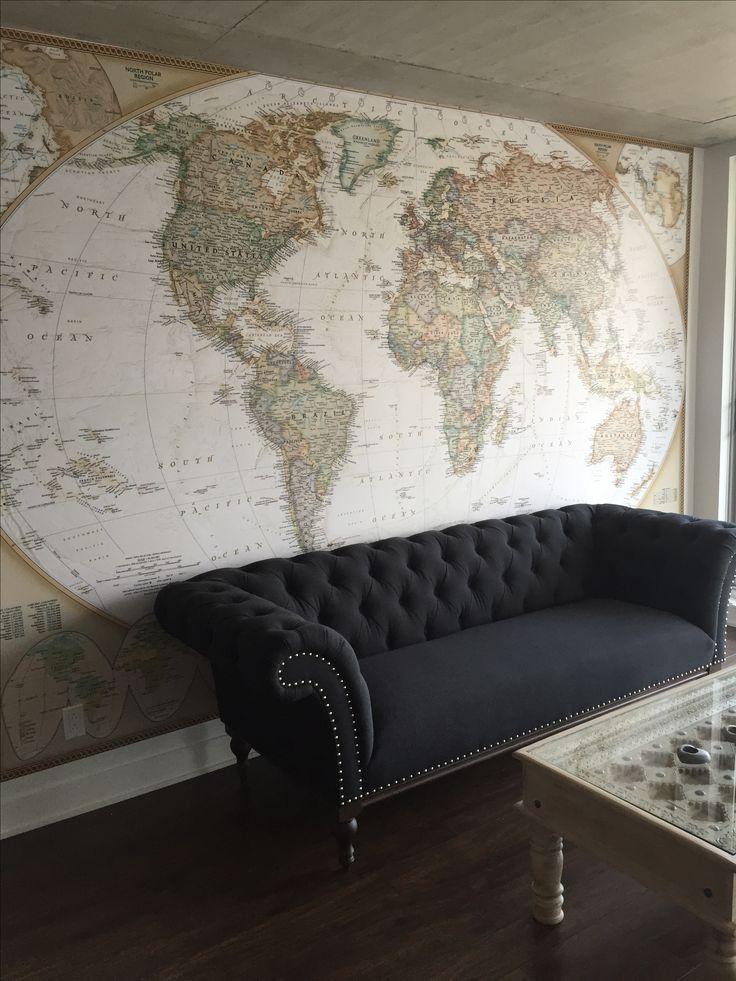 www.vinylimpression.co.uk Vintage old world map wall covering for home interior design