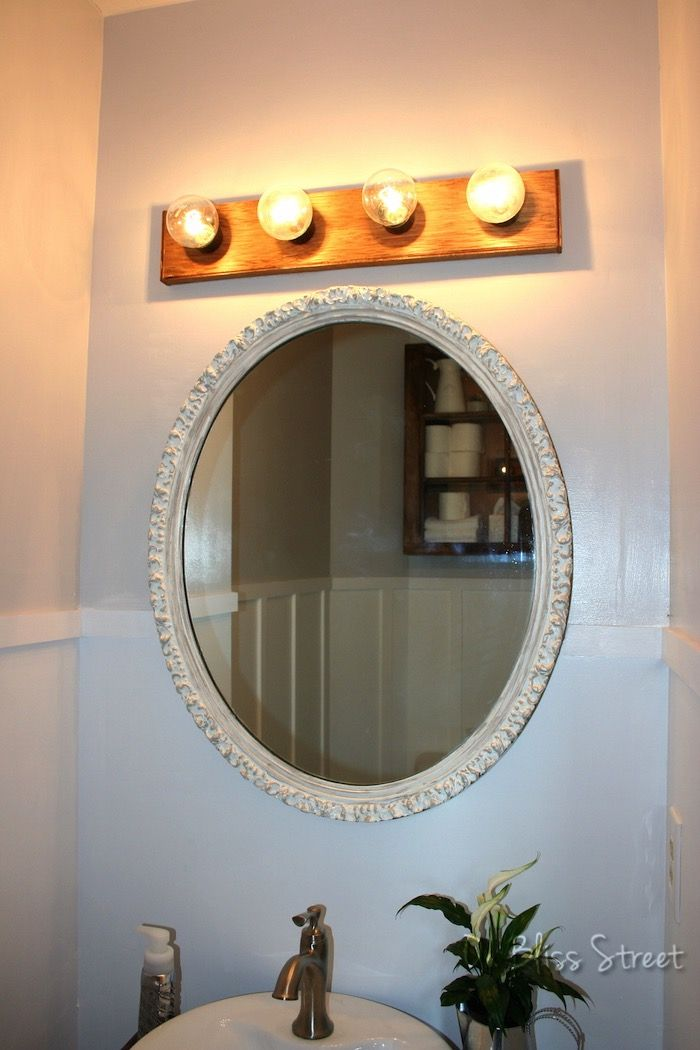 Upgraded Hollywood Vanity Light Fixture Strip With Wood Above Oval Mirror Home Pinterest