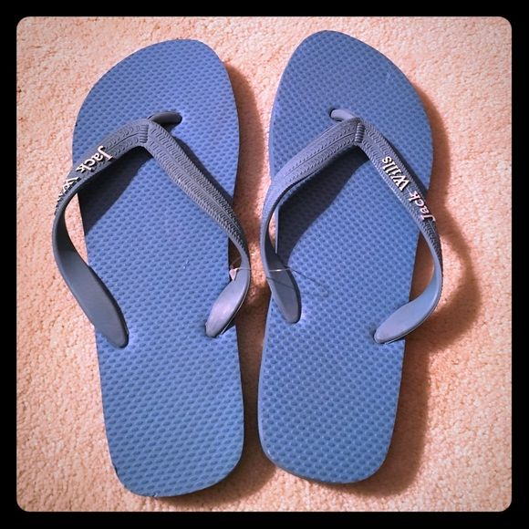 Jack Wills Solid Blue Flip Flop Sandal Never worn (literally still connected but tags were removed) Jack Wills Flip Flop Sandal. Size is 6/7 but fits like a 7. Note tiny impression on left sandal (last photo) that occurred during storage. Jack Wills Shoes Sandals