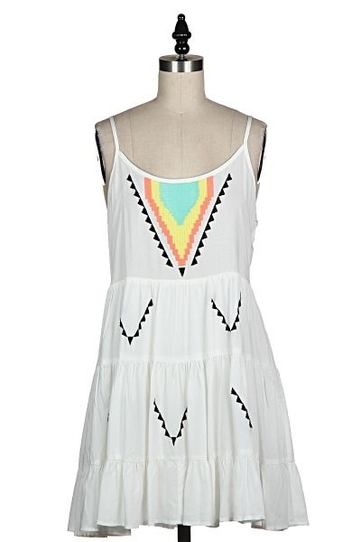 EMBROIDERED FRONT OPEN BACK DRESS