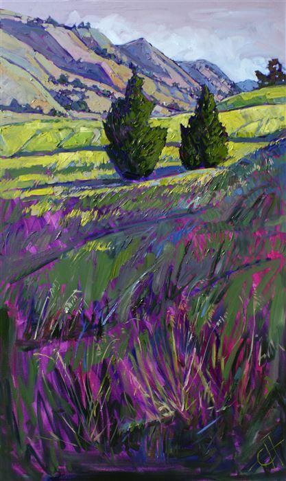 Apple green California hills, by open impressionist artist Erin Hanson