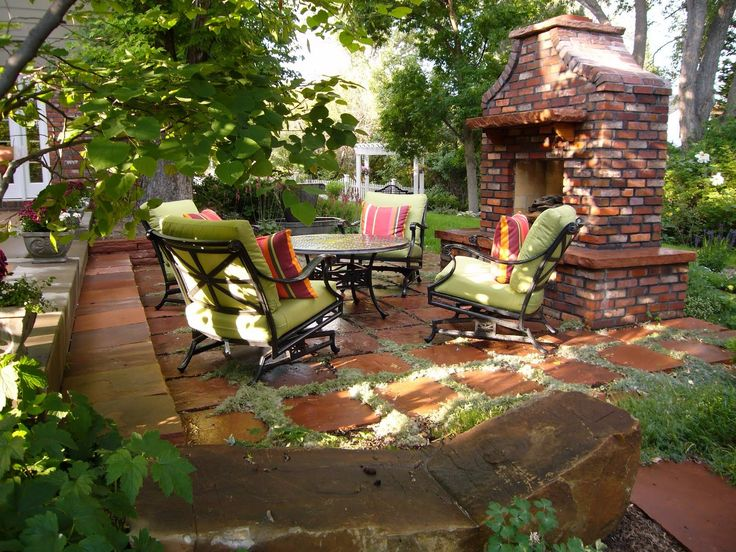 Comfy Green Loveseats With Round Table Closed By Firepit At Backyard Patio Ideas