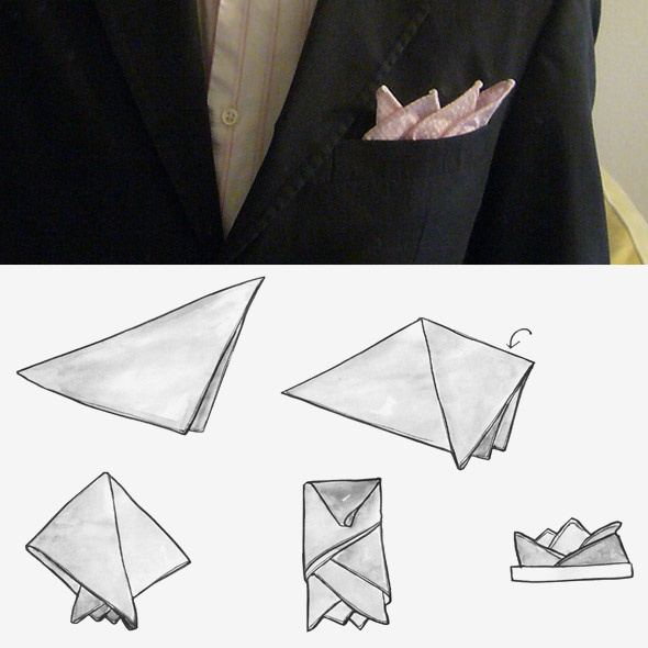 Para o noivo: How to fold a handkerchief with four angles.