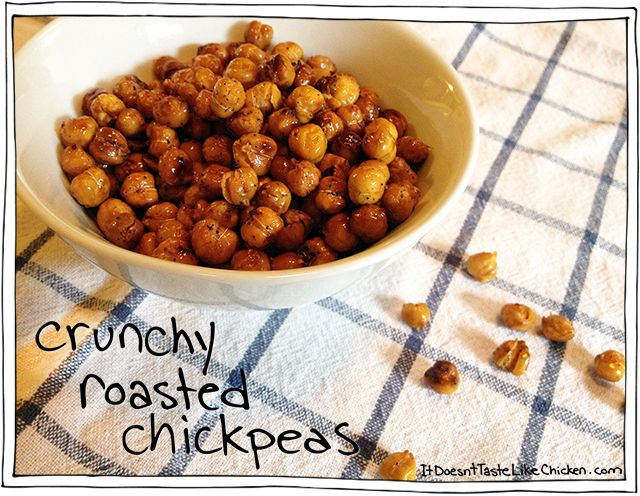 Crunchy Roasted Chickpeas recipe! How to roast them so they are super crunchy all the way through. A healthy vegan, vegetarian, and gluten free snack!